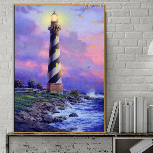Cape Hatteras Light Reproduction Painting Canvas Print for Wall Drape