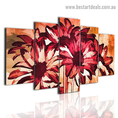 Abstract Sunflower Botanical Modern Painting Split Canvas Print for Room Wall Garniture