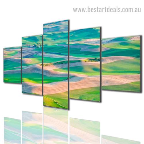Green Roads Landscape Modern Portraiture Picture Large Split Canvas Print