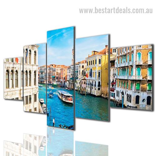 Venice City View Cityscape Modern Smudge Picture Large Split Canvas Print