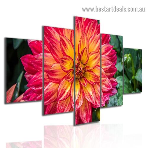 Beautiful Flower Plants Botanical Modern Artwork 5 Panel Split Canvas Print for Room Wall Garniture
