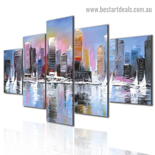 City Coast Abstract Modern Artwork 5 Panel Wrapped Canvas Print for Room Wall Garniture