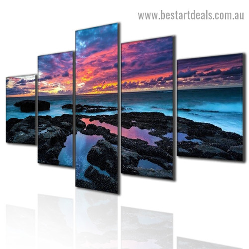 Cloudy Seacoast Landscape Modern Artwork 5 Panel Canvas Print for Room Wall Adornment