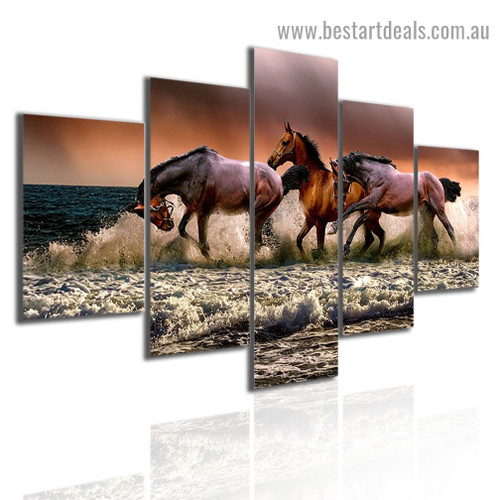 Splashing Horses Animal Landscape Modern Artwork 5 Piece Painting Print for Room Wall Décor