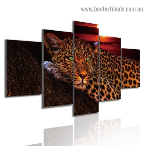 Green Eyes Leopard Animal Landscape Modern Artwork 5 Piece Canvas Art Print for Room Wall Ornament