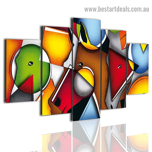 Geometric Abstract Modern Artwork 5 Piece Canvas Art Painting for Room Wall Ornament