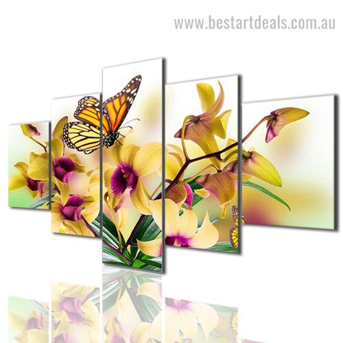Danaus Plexippus Animal Botanical Modern Smudge Photo Split Canvas Print
