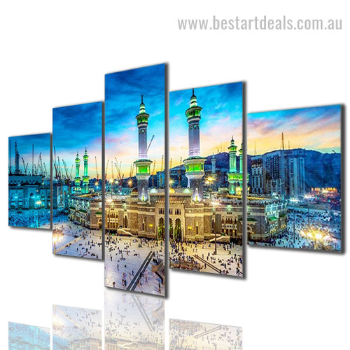 Masjid al Haram Religion And Spirituality Cityscape Modern Portraiture Photo 5 Piece Canvas Prints Online