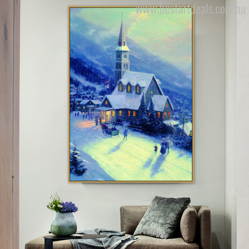 Moonlit Village Reproduction Painting Canvas Print for Living Room Wall Assortment