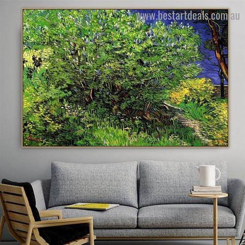 Lilac Bush Vincent Willem Van Gogh Botanical Landscape Impressionism Artwork Painting Canvas Print for Room Wall Garniture