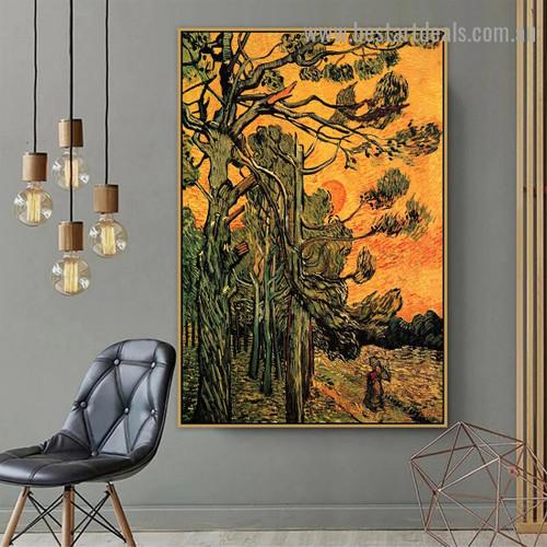 Pine Trees against an Evening Sky Vincent Willem Van Gogh Botanical Landscape Impressionism Artwork Picture Canvas Print for Room Wall Garniture