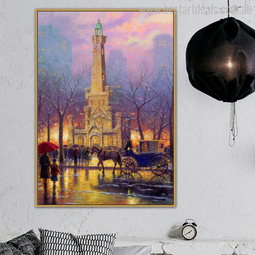 Winter at the Water Tower Cityscape Reproduction Painting Canvas Print for Living Room Wall Ornament