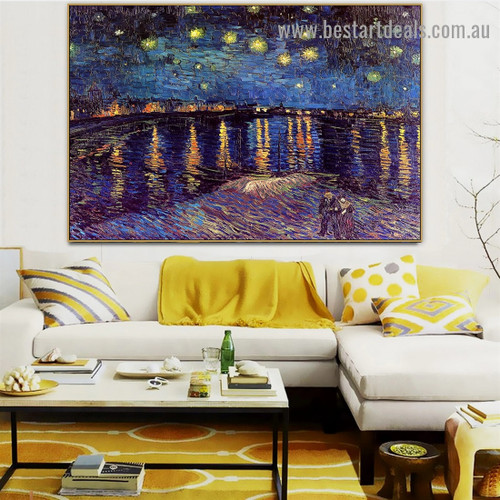 Starry Night over the Rhone Vincent Willem Van Gogh Landscape Figure Impressionism Artwork Image Canvas Print for Room Wall Adornment