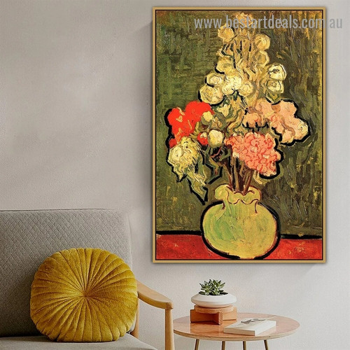 Still Life Vase with Rose Mallows Vincent Willem Van Gogh Impressionism Artwork Picture Canvas Print for Room Wall Décor