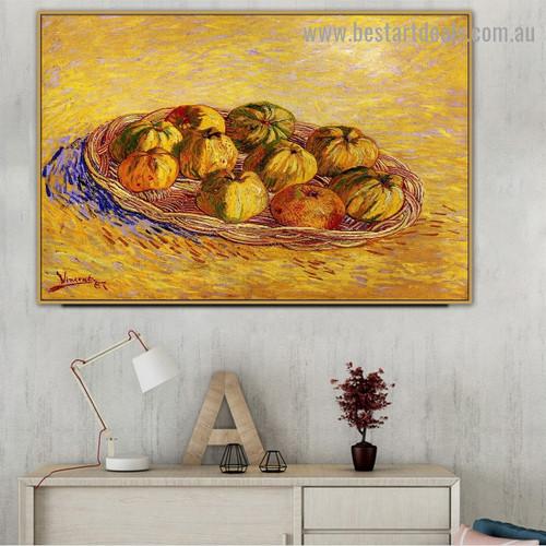 Still Life with Basket of Apples Vincent Willem Van Gogh Impressionism Portrait Image Canvas Print for Room Wall Garniture