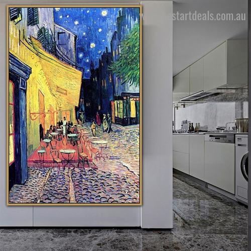 Café Terrace at Night Place Du Forum Arles Vincent Willem Van Gogh Cityscape Impressionist Portrait Image Canvas Print for Room Wall Ornament