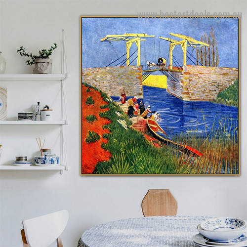 The Langlois Bridge at Arles with Women Washing Vincent Willem Van Gogh Landscape Impressionism Artwork Picture Canvas Print for Room Wall Décor