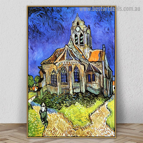 The Church at Auvers Vincent Willem Van Gogh Cityscape Impressionist Portrait Image Canvas Print for Room Wall Ornament
