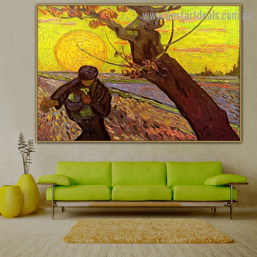 Sower with Setting Sun Vincent Willem Van Gogh Landscape Figure Impressionism Artwork Picture Canvas Print for Room Wall Decor