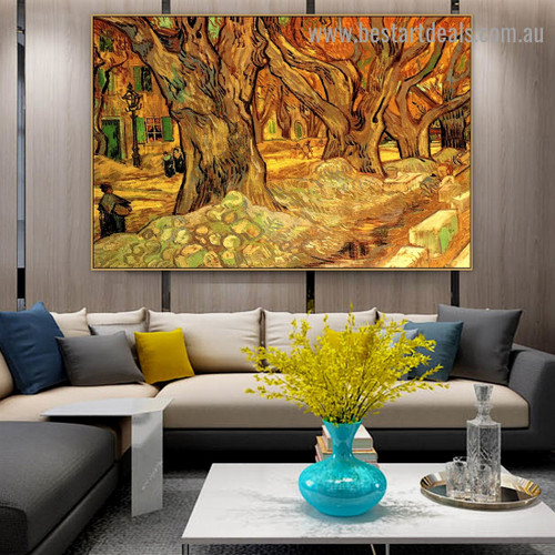 Large Plane Trees Vincent Willem Van Gogh Landscape Figure Impressionism Artwork Photo Canvas Print for Room Wall Adornment