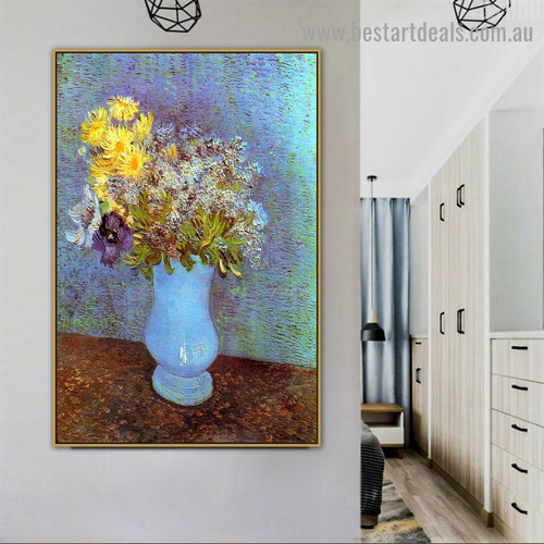 Vase with Lilacs Daisies and Anemones Vincent Willem Van Gogh Still Life Impressionism Artwork Image Canvas Print for Room Wall Adornment