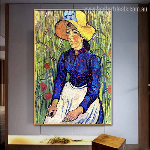 Young Peasant Girl in a Straw Hat Sitting In Front of a Wheatfield Vincent Willem Van Gogh Figure Impressionism Portrait Painting Canvas Print for Room Wall Adornment