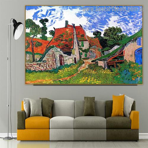 Street in Auvers Sur Oise Vincent Willem Van Gogh Cityscape Impressionism Portrait Picture Canvas Print for Room Wall Décor