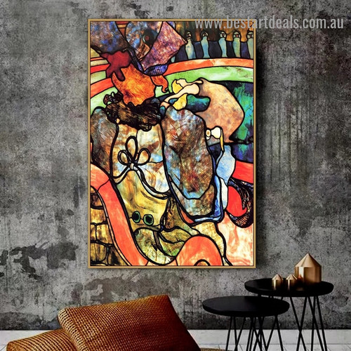 At the New Circus Papa Chrysanthemum Henri Marie Raymond De Toulouse Lautrec Monfa Abstract Figure Impressionist Artwork Photo Canvas Print for Room Wall Ornament