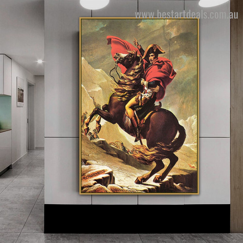 Napoleon Crossing the Alps Jacques Louis David Neoclassicism Animal Figure Artwork Picture Canvas Print for Room Wall Ornament