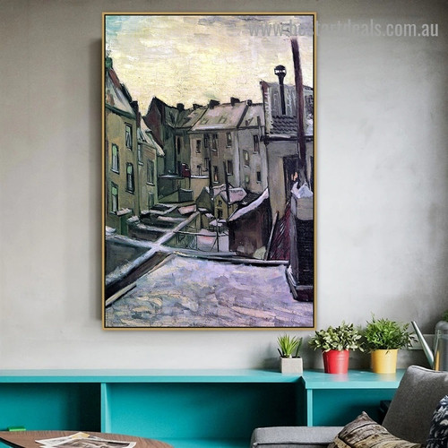 Backyards of Old Houses in Antwerp in the Snow Vincent Willem Van Gogh Cityscape Realism Portrait Image Canvas Print for Room Wall Adornment