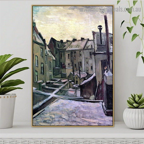 Backyards of Old Houses in Antwerp in the Snow Vincent Willem Van Gogh Cityscape Realism Portrait Photo Canvas Print for Room Wall Garniture
