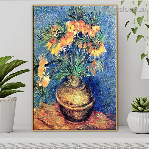 Fritillaries in a Copper Vase Vincent Willem Van Gogh Still Life Impressionism Artwork Image Canvas Print for Room Wall Ornament