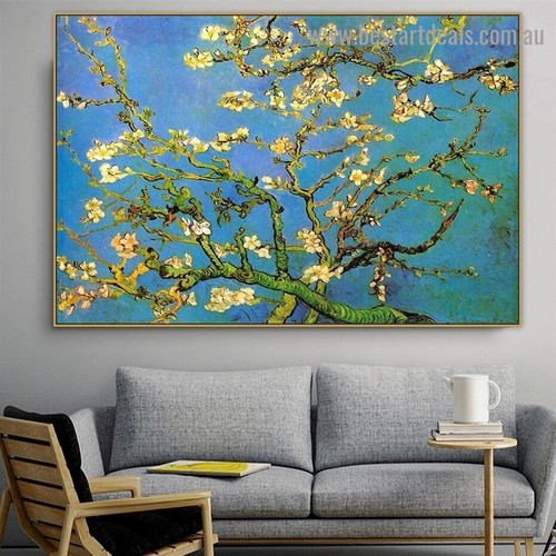 Branches with Almond Blossom Vincent Willem Van Gogh Botanical Impressionism Portrait Photo Canvas Print for Room Wall Decoration