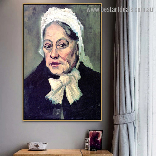 Head of an Old Woman with White Cap the Midwife Vincent Willem Van Gogh Figure Realism Artwork Image Canvas Print for Room Wall Ornament