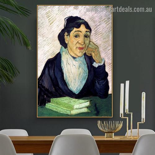Portrait of Madame Ginoux L'Arlesienne Vincent Willem Van Gogh Figure Impressionism Portrait Painting Canvas Print for Room Wall Ornament