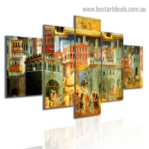Allegory of Good and Bad Government Bruce Langton Cityscape Figure Gothic Reproduction Artwork Photo Canvas Print for Room Wall Garniture