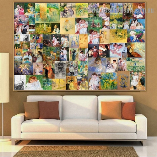 Cassatt and Morisot Collage Impressionism Old Famous Master Artist Artwork Photo Reproduction Canvas Print for Wall Décor