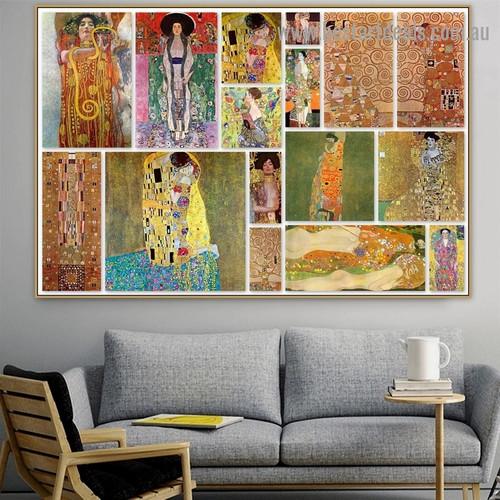 Gustav Klimt Collage Symbolism Reproduction Artwork Portrait Canvas Print for Room Wall Garniture