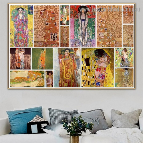 Gustav Klimt Collage I Symbolism Reproduction Artwork Picture Canvas Print for Room Wall Ornament