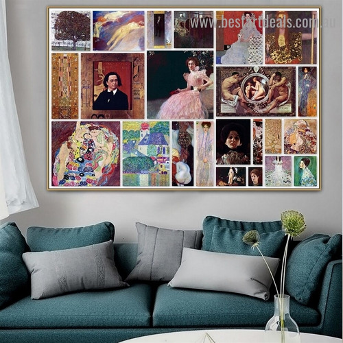 Gustav Klimt Collage II Symbolism Old Famous Master Artist Reproduction Artwork Image Canvas Print for Room Wall Garniture