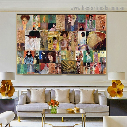 Gustav Klimt Collage IV Symbolism Reproduction Artwork Image Canvas Print for Room Wall Garniture