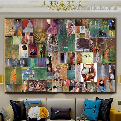 Gustav Klimt Collage V Symbolism Old Famous Master Artist Reproduction Artwork Image Canvas Print for Room Wall Garniture