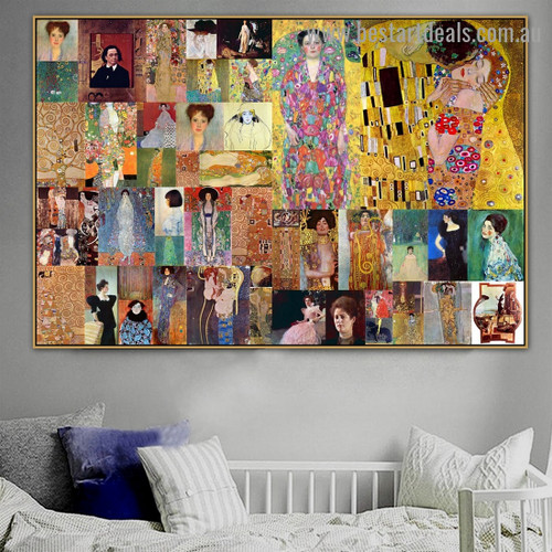 Gustav Klimt Collage VI Symbolism Old Famous Master Artist Reproduction Artwork Photo Canvas Print for Room Wall Ornament