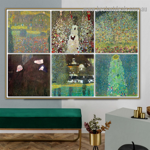 Gustav Klimt Collage VII Symbolism Reproduction Artwork Image Canvas Print for Room Wall Garniture