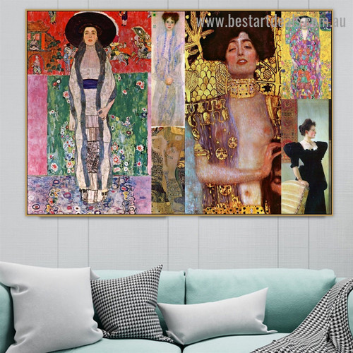 Gustav Klimt Collage VIII Symbolism Old Famous Master Artist Reproduction Artwork Image Canvas Print for Room Wall Decor