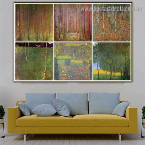 Gustav Klimt Collage IX Symbolism Old Famous Master Artist Reproduction Artwork Image Canvas Print for Room Wall Garniture
