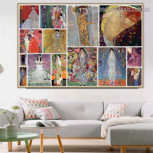 Gustav Klimt Collage XI Symbolism Old Famous Master Artist Reproduction Artwork Photo Canvas Print for Room Wall Adornment