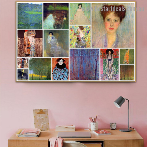 Gustav Klimt Collage XII Symbolism Old Famous Master Artist Reproduction Artwork Portrait Canvas Print for Wall Hanging
