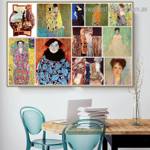 Gustav Klimt Collage XIII Symbolism Old Famous Master Artist Reproduction Artwork Portrait Canvas Print for Room Wall Ornament
