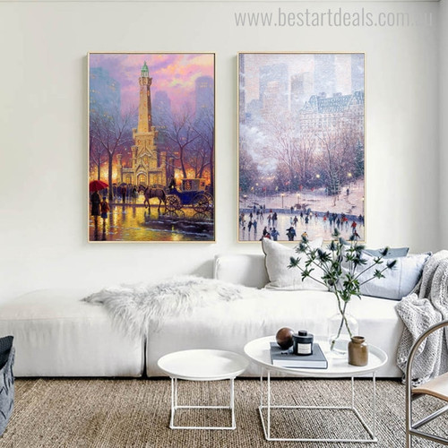 Winter Skating Park Cityscape Reproduction Painting Canvas Print for Home Wall Decoration